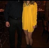dress,yellow,yellow dress,shift dress,long sleeves,long sleeve dress,mini dress,yellow long sleeve dress,yellow shift dress