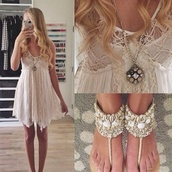 shoes,dress,jewels,shell,beach,sandals,white,summer,sundress,crochet dress,sun dresses,high heel sandals