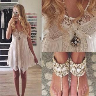 shoes dress jewels shell beach sandals white summer sundress crochet dress sun dresses high heel sandals