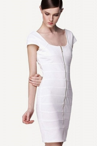 dress classy wots-hot-right-now bandage dress white white dress square neck front zipper evening dress party dress cocktail dress elegant sleeveless sexy party dresses