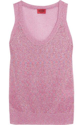 knit metallic pink crochet top