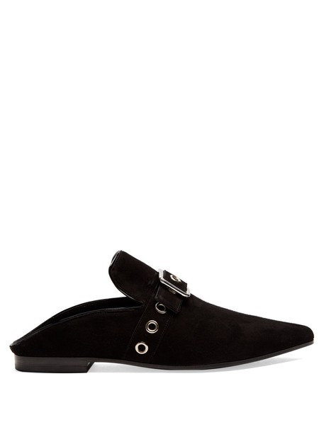 CLERGERIE backless flats suede black shoes