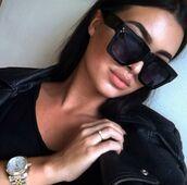 sunglasses,squared frame glasses,black,squared,big glasses,big frames,round frame glasses