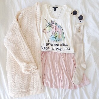 top t-shirt crop crop tee crop tops unicorn pastel socks cardigan quote on it shirt white cardigan unicorn shirt long socks skirt pink skirt kawaii kawaii grunge kawaii outfit sweet cute back to school