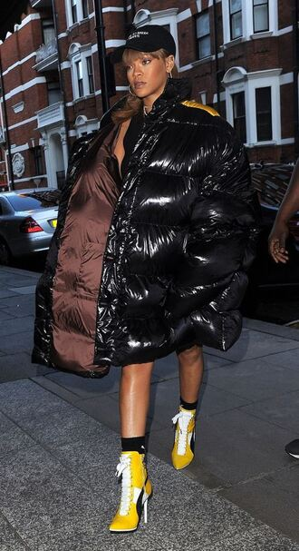 jacket rihanna boots winter jacket down jacket black