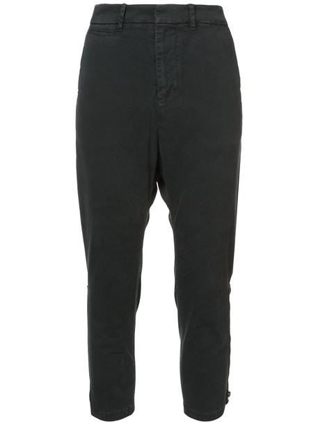 Nili Lotan cropped women spandex cotton black pants