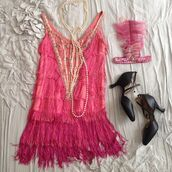 dress,pink,costume,heels,black,pearl,flapper