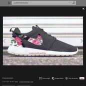shoes,floral nike roshe run,custom nike roshe runs,nike,floral,white,white pink floral