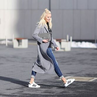 shoes grey coat black and white striped purse skinny jeans adidas shoes blogger