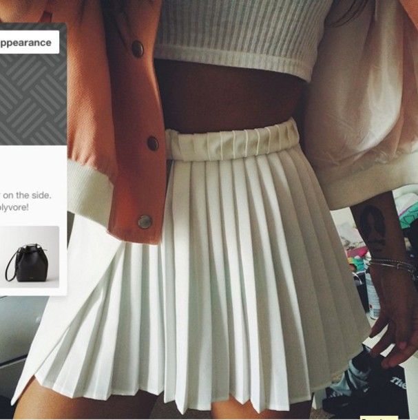 Skirt: pleated skirt, mini skirt, white skirt, white pleated skirt ...