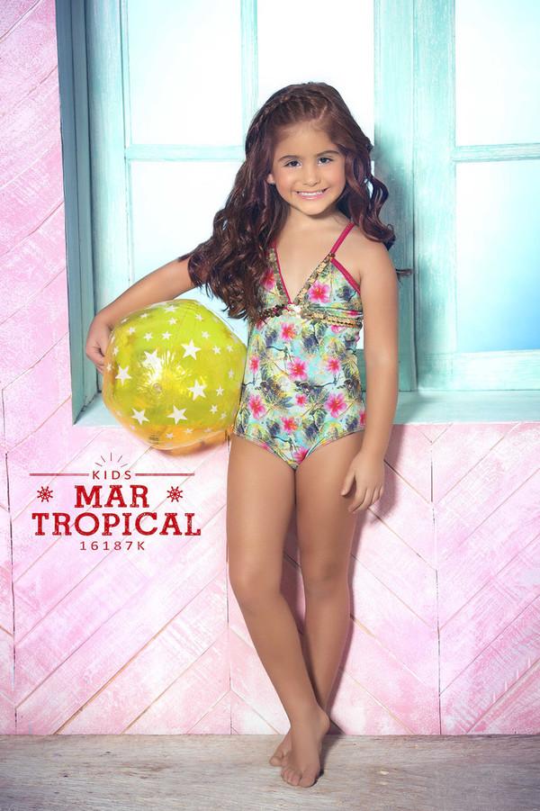 e82c44904a swimwear mar de rosas bikini full coverage baby girl straps one piece comfy  tropical swimwear kids.
