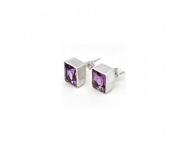 Unique 925 sterling silver Gemstone Faceted Amethyst Stud