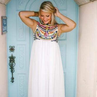 dress e's closet aztec dres aztec maxi aztec maxi dress white maxi white maxi dress embroidered embroidered dress aztec embroidered maxi dress