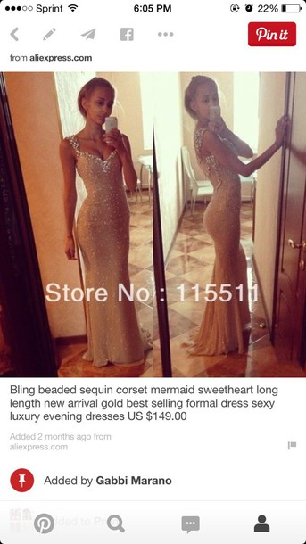 dress prom dress gold sequin dress sparkly dress long prom dress mermaid prom dress long mermaid beaded slit up the side #prom bag sequin prom dress white or cream prom dress