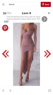 dress,high low dress,dusty pink,sexy dress,pink,nude,wrap dress,pink dress,wrap dress pink,draped dress,v neck,asymmetrical,classy dress,maxi dress,prom dress,prom beauty,spandex
