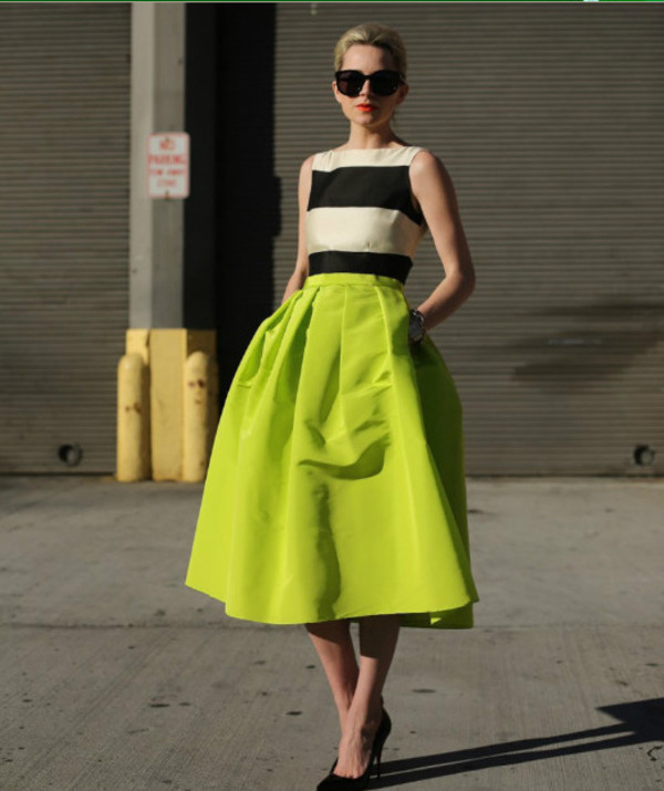 skirt bright midi calf ball gown dress fluo blouse