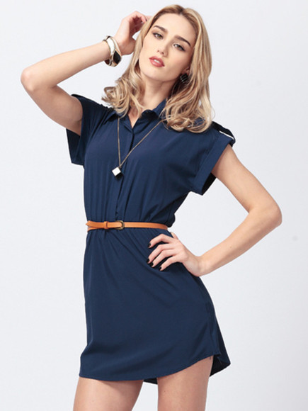 women dress chiffon short sleeve turn-down collar mini dress banggood