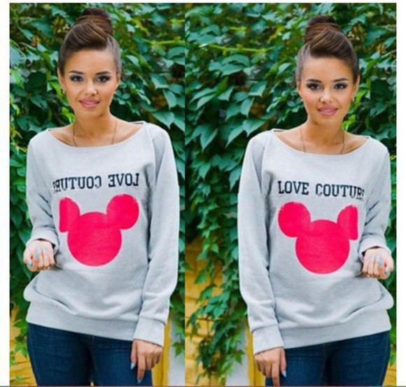blouse pullover sweatshirt ysl long sleeves o neck bear love couture gray t-shirts women clothes