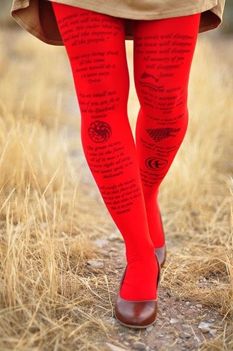 tights battle of bastards no man red tights leggings game of thrones printed clothing printed leggings christmas red leggings