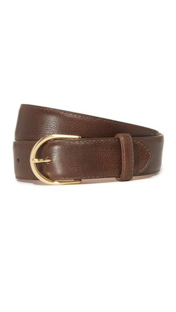 W.Kleinberg Pebbled Leather Basic Belt in chocolate