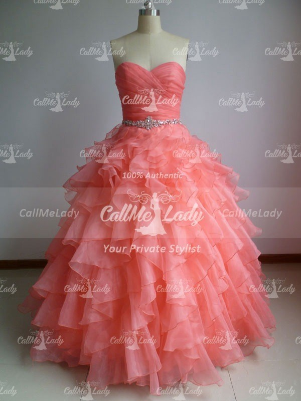 Sweetheart organza quinceanera dress / prom dress with beading waist