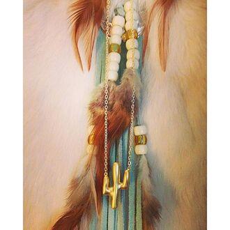 jewels divergence clothing cactus cactus necklace gold necklace boho boho chic coachella