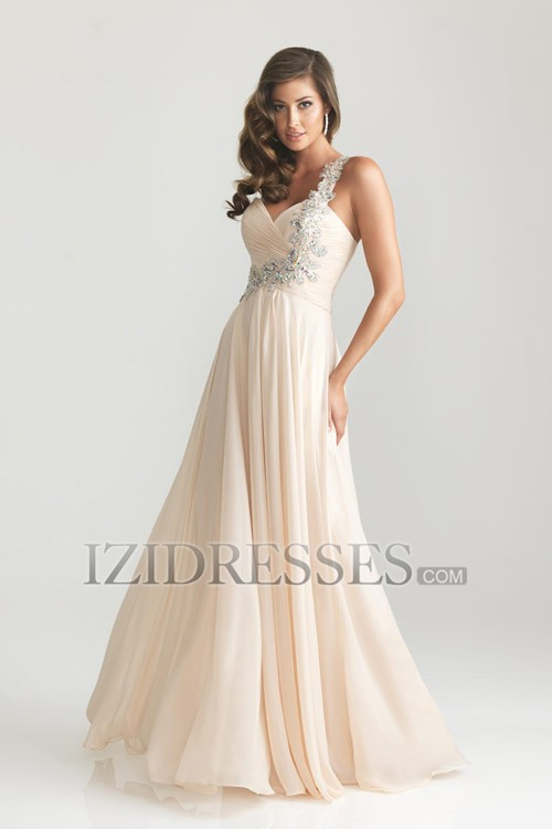 Sheath/Column Sweetheart  One Shoulder Chiffon Prom Dress - IZIDRESSES.COM