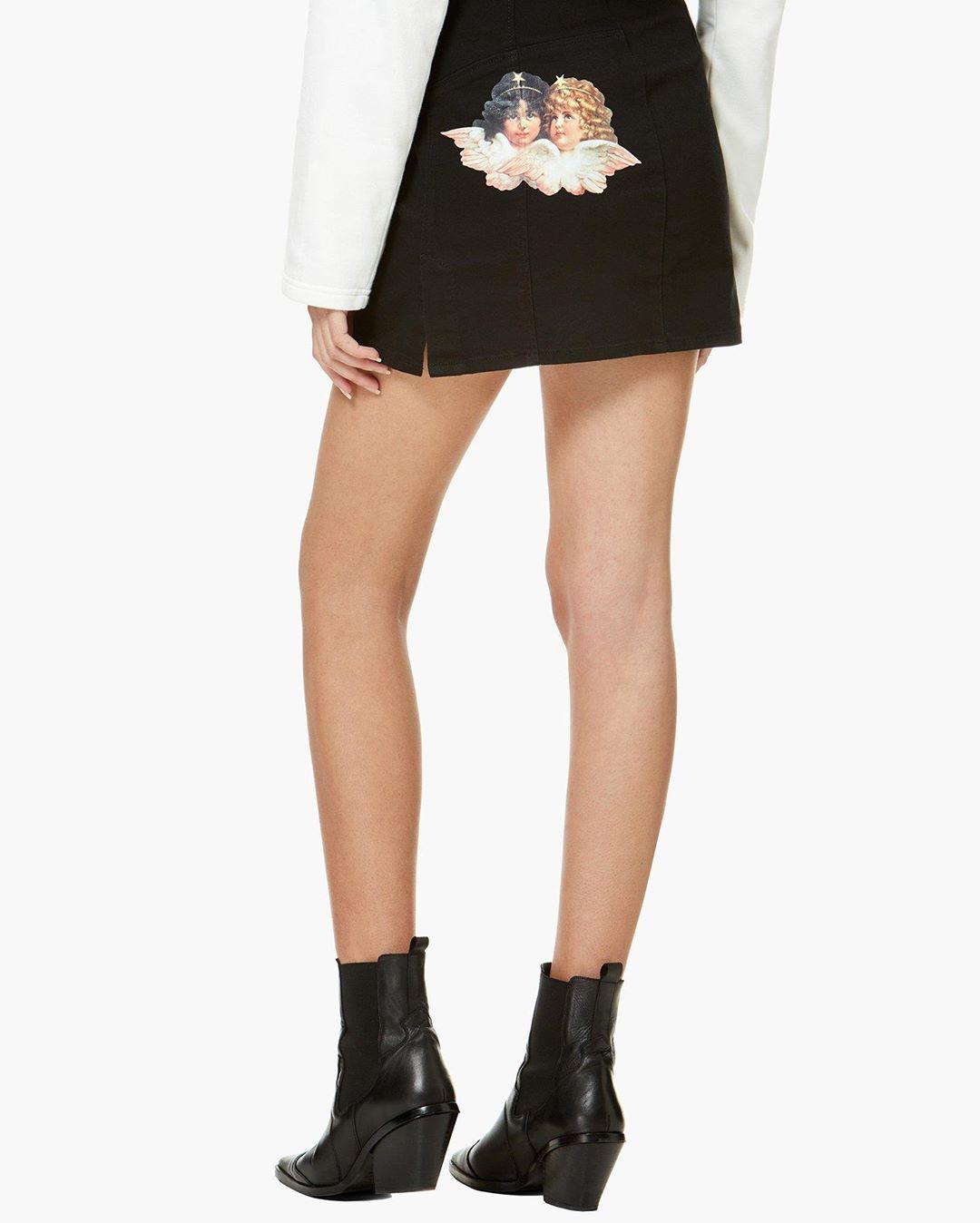 Angels Denim Mini Skirt Black