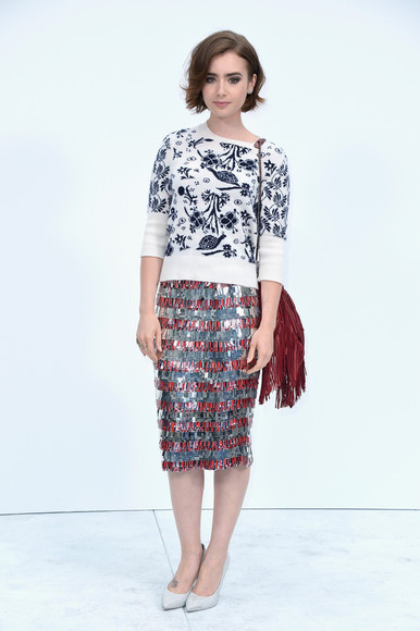 lily collins sweater skirt
