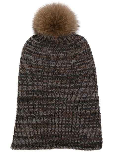 beanie knit brown hat