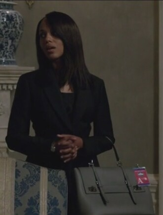 bag scandal olivia pope kerry washington grey leather double buckle tote bag