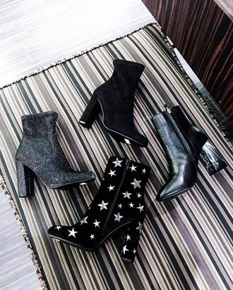 shoes tumblr boots high heels boots black boots silver boots stars ankle boots