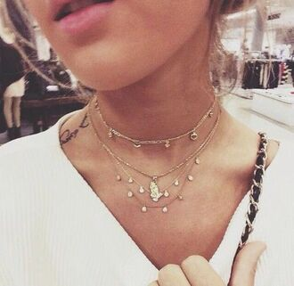 jewels layered layered necklace choker chain 90's choker necklace delicate neckace