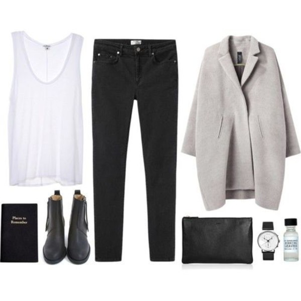 coat white t-shirt black pants grey watch boots shirt shoes