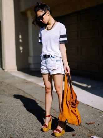 shirt black and white striped shirt shorts denim ripped shorts denim shorts black belt clothes