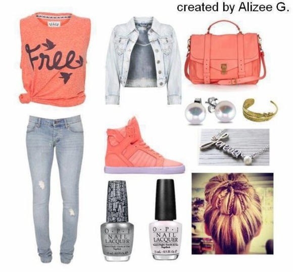 collier t-shirt veste sac chaussures denim