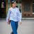 Blue trousers - STYLE DU MONDE | Street Style Street Fashion Photos