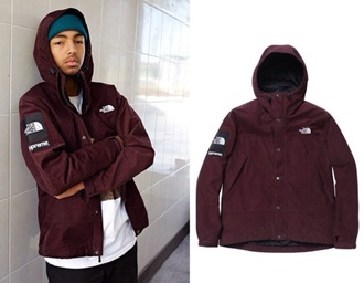 coat supreme north face burgundy wavy the north face jacket menswear mens jacket mens windbreaker