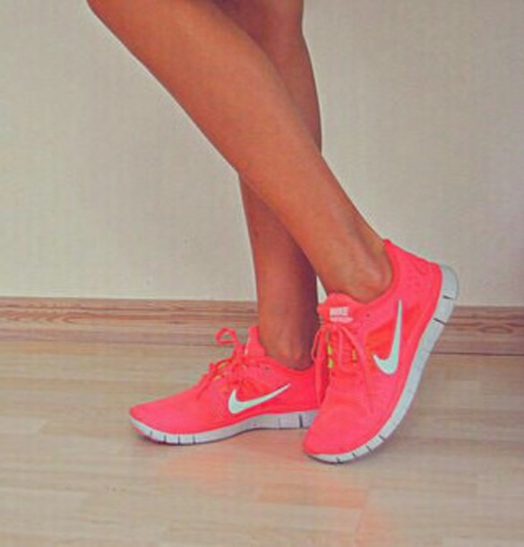 shoes fluo neon run nik nike free run hi nike running shoes pink
