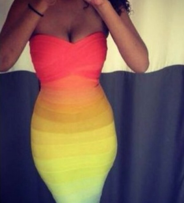 dress rainbow colorful good shape summer
