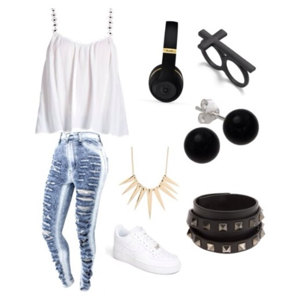 jeans ripped faded jeans cute blouse jewels