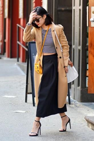 pants top wide-leg pants vanessa hudgens coat sandals bag purse sunglasses