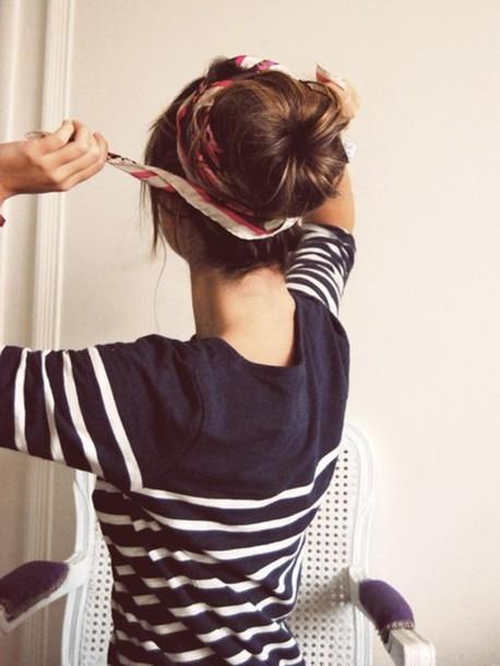 blouse shirt t-shirt stripes blue sweater jumper jersey blue shirt sea marine summer shirt style hair accessory