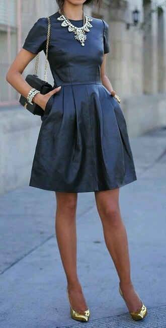 dress leather dress fit and flare dress short sleeve short sleeve dress formal dress new year dresses classic chic street style