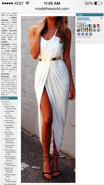 dress black or white gold belt maxi dress