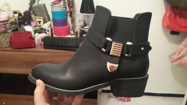 shoes noir dor? bottines