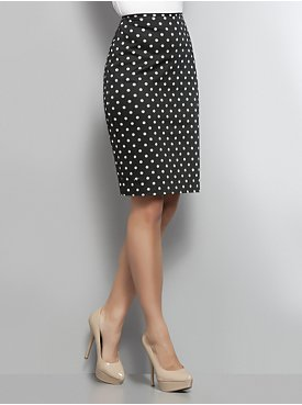 Navy & White Polka Dot Pencil Skirt - New York & Company