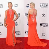 American Music Awards,dress,gown,prom dress,julianne hough,coral,sandals