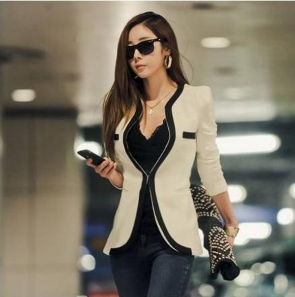 jacket blazer nude black coat black and tan casual blazer one-button blazer slim-fit blazer blouse women clothes buy links:985.so/q49P