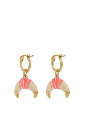 earrings gold pink jewels